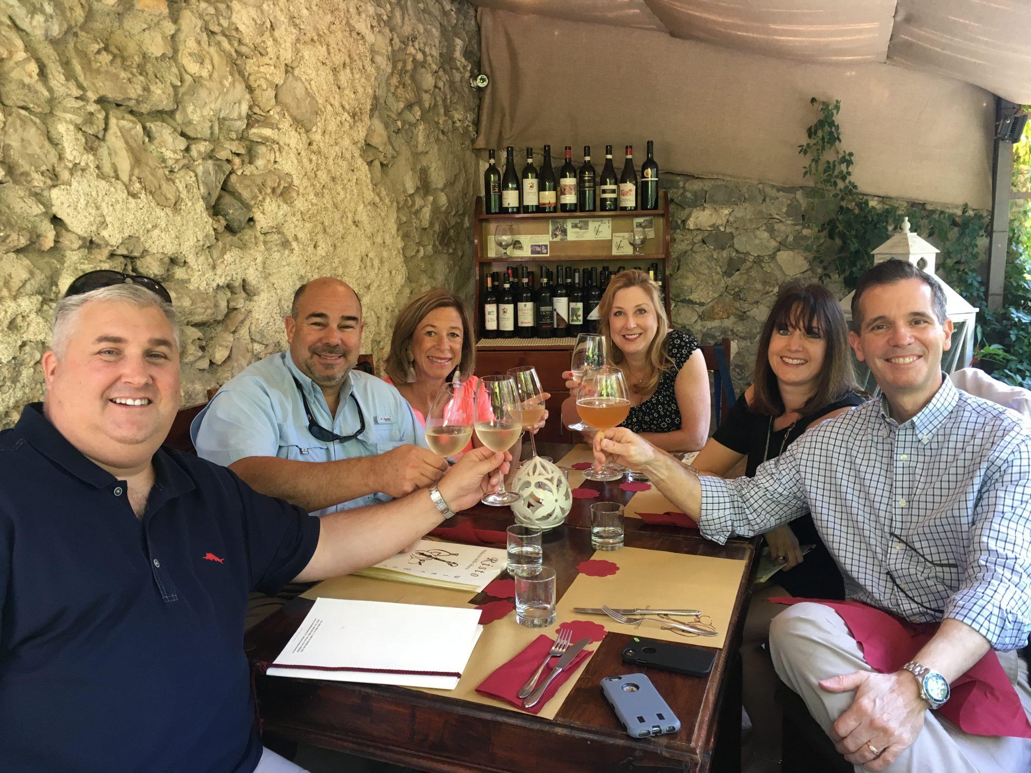 Men Women Drinking Wine Amalfi Coast Italy