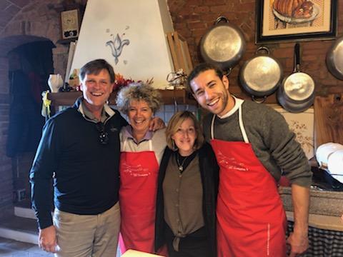 Men Women Tour Group Cooking School Tuscany